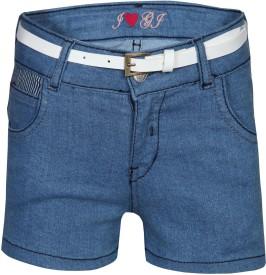 Gini and Jony Solid Girl's Blue Basic Shorts