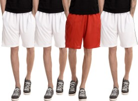 Dee Mannequin Solid Men's White, White, White, Red Basic Shorts