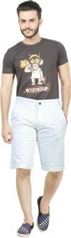Dolce Hugo Solid, Self Design, Printed Men's White Beach Shorts, Basic Shorts