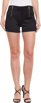 Diachic Solid Women's Black High Waist Shorts