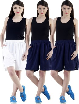 Dee Mannequin Self Design Women's White, Dark Blue, Dark Blue Sports Shorts
