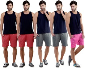 Dee Mannequin Self Design Men's Red, Red, Grey, Grey, Pink Sports Shorts