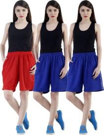 Dee Mannequin Self Design Women's Red, Blue, Blue Sports Shorts
