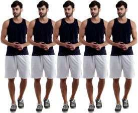Dee Mannequin Self Design Men's White, White, White, White, White Sports Shorts