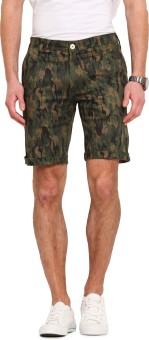 Ennoble Printed Men's Green Basic Shorts