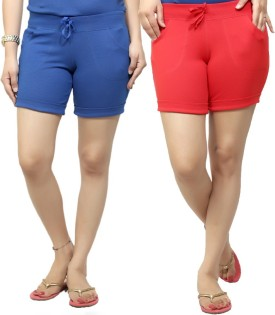By The Way Solid Women's, Girl's Blue, Red Basic Shorts, Beach Shorts, Cycling Shorts, Night Shorts