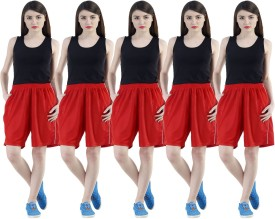 Dee Mannequin Self Design Women's Red, Red, Red, Red, Red Sports Shorts