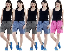 Dee Mannequin Self Design Women's Dark Blue, Dark Blue, Grey, Grey, Pink Sports Shorts