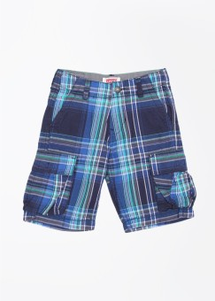 Levis Kids Checkered Boy's Grey, Blue, Green Cargo Shorts
