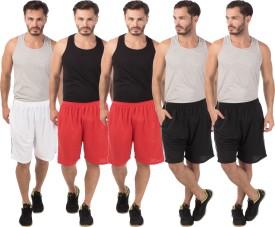Meebaw Self Design Men's White, Red, Red, Black, Black Sports Shorts