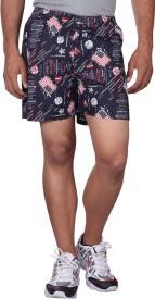 Black Casual Printed Men's Multicolor Boxer Shorts