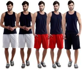 Dee Mannequin Self Design Men's White, White, Red, Red, Black Sports Shorts