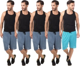 Meebaw Self Design Men's Dark Blue, Dark Blue, Dark Blue, Dark Blue, Blue Sports Shorts
