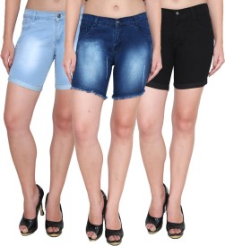 Ansh Fashion Wear Solid Women's Blue, Black Denim Shorts