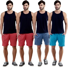 Dee Mannequin Self Design Men's Red, Red, Dark Blue, Blue Sports Shorts