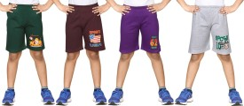 Dongli Printed Boy's Dark Green, Brown, Purple, Silver Sports Shorts