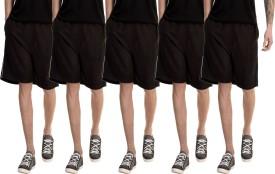 Dee Mannequin Solid Men's Black, Black, Black, Black, Black Basic Shorts