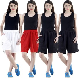 Dee Mannequin Self Design Women's White, Red, Black, Black Sports Shorts