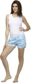 Heart 2 Heart Printed Women's Blue Beach Shorts