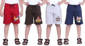 Dongli Printed Boy's Red, Brown, Grey, Dark Blue Sports Shorts