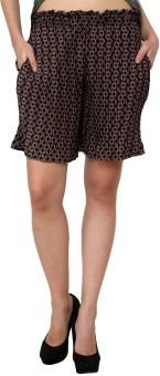 Zotw Brown Checkered Free Size Printed Women's Denim Shorts
