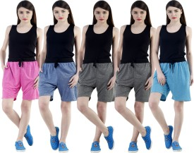 Dee Mannequin Self Design Women's Dark Blue, Grey, Grey, Pink, Blue Sports Shorts