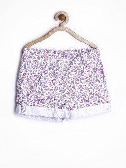 Yellow Kite Floral Print Girl's Basic Shorts