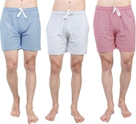SayItLoud Striped Men's White, Grey, White, Blue, White, Red Basic Shorts