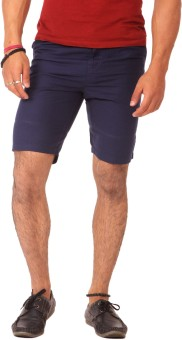 Etc Casuals Navy Blue Solid Men's Basic Shorts