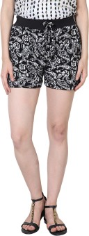Sakhi Sang Black Flowers Printed Women's Basic Shorts