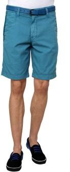 Wear Your Mind Solid Men's Blue Basic Shorts