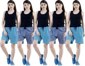 Dee Mannequin Self Design Women's Dark Blue, Dark Blue, Blue, Blue, Blue Sports Shorts