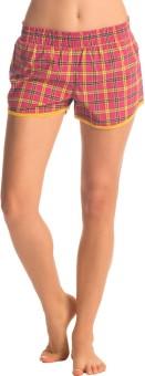 PrettySecrets Checkered Women's Pink, Yellow Night Shorts