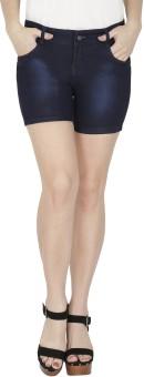 NJs Solid Women's Dark Blue Denim Shorts, Basic Shorts