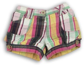 Lilliput Checkered Baby Girl's Multicolor Baggy Shorts