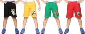 Dongli Printed Boy's Black, Yellow, Red, Light Green Sports Shorts