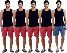 Dee Mannequin Self Design Men's Red, Red, Red, Red, Dark Blue Sports Shorts
