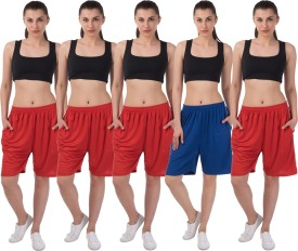 Meebaw Self Design Women's Red, Red, Red, Red, Blue Sports Shorts