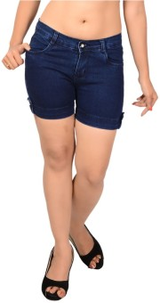 Ganga ANG635C Solid Women's Denim Denim Shorts