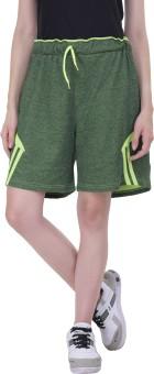 Gag Wear Self Design Women's Dark Green Sports Shorts