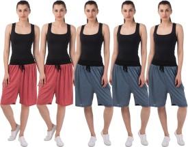 Meebaw Self Design Women's Red, Red, Dark Blue, Dark Blue, Dark Blue Sports Shorts