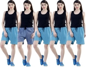 Dee Mannequin Self Design Women's Dark Blue, Blue, Blue, Blue, Blue Sports Shorts