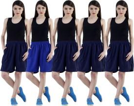 Dee Mannequin Self Design Women's Dark Blue, Dark Blue, Dark Blue, Dark Blue, Blue Sports Shorts