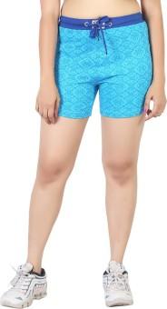 Sunwin Floral Print Women's Light Blue Basic Shorts