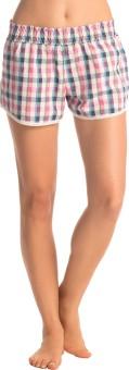 PrettySecrets Checkered Women's White, Pink, Blue Night Shorts