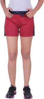 DFH Solid Women's Red Basic Shorts, Beach Shorts, Gym Shorts, Night Shorts, Running Shorts, Sports Shorts