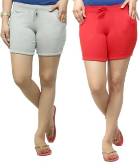 By The Way Solid Women's, Girl's Grey, Red Basic Shorts, Beach Shorts, Cycling Shorts, Night Shorts
