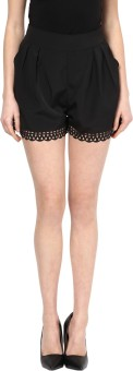 109F Solid Women's Black Beach Shorts