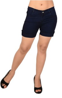 Ganga ANG635D Solid Women's Denim Denim Shorts