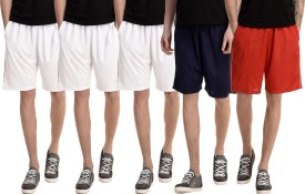 Dee Mannequin Solid Men's White, White, White, Red, Dark Blue Basic Shorts
